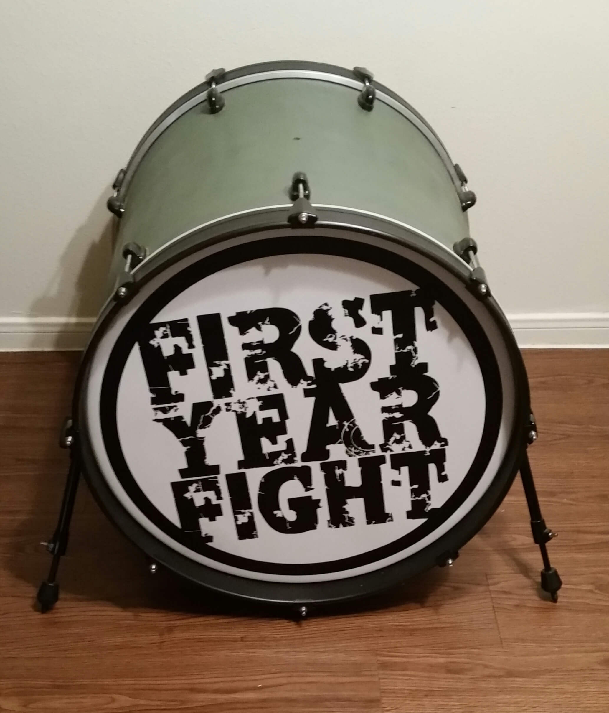 First Year Fight, drum decal, kick drum decals, drum stickers, custom, great prices, die-cut, die cut vinyl decals, music band, promotion