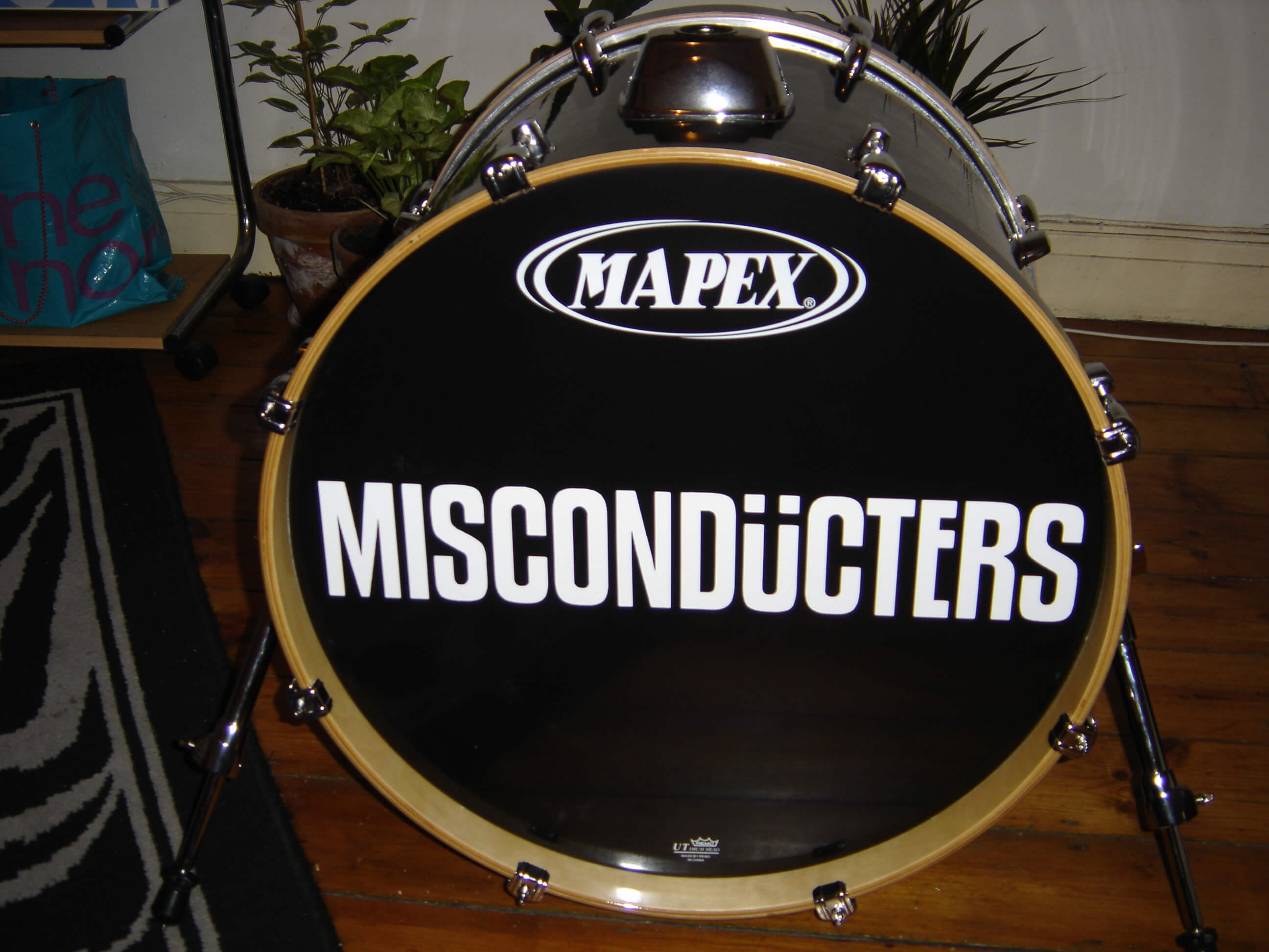 Misconducters, Bass drum decals, kick drum decals, drum stickers, sale, cheap price, die-cut, die cut vinyl decals, music bands, local band