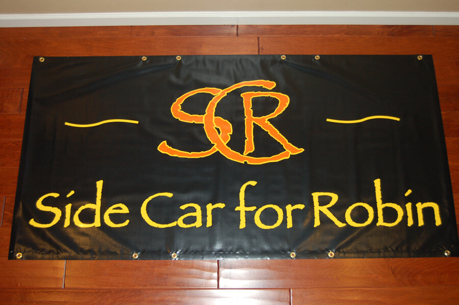 Side Car for Robin, custom banners, vinyl banners, music band banners, die-cut banners, purchase vinyl banner, band banner, black banner, white banner, red banner, fire resistant banner, club banner, promotion banner, promotional custom banner, color banner, flame resistant banner