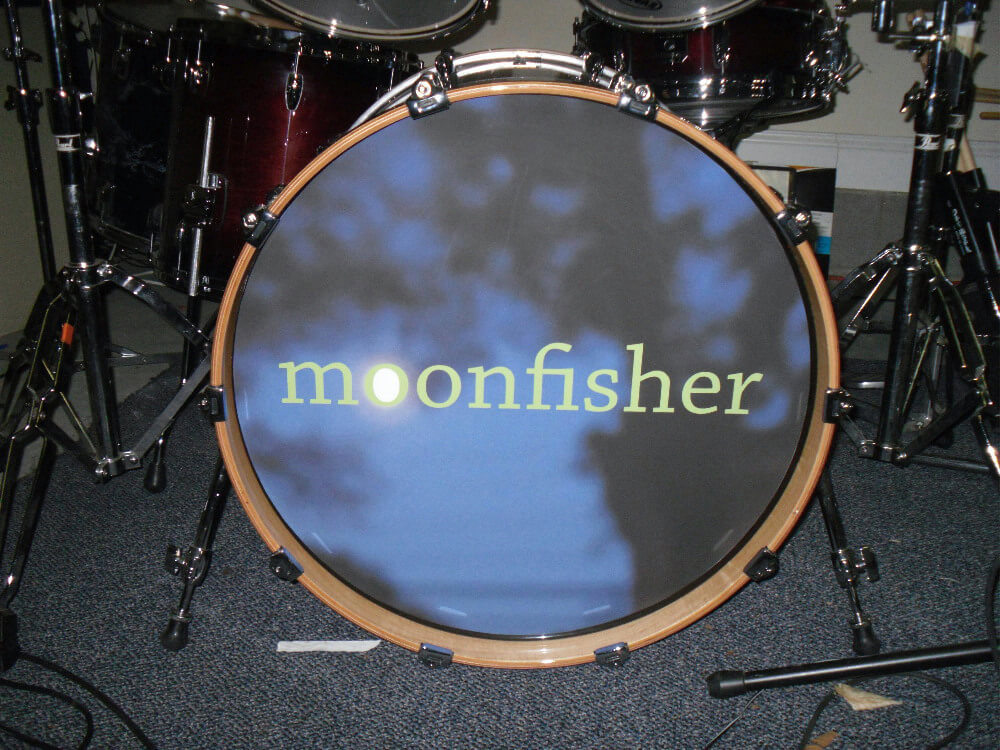 Moon Fisher, Bass drum removable decal, Bass drum skin, bass drum full color decal, drum skin, sale, cheap price, die-cut, die cut vinyl decals, removable static cling drum decal, music bands, local band