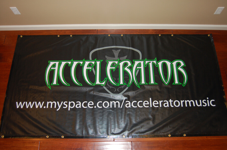 Accelerator, custom banners, vinyl banners, music band banners, die-cut banners, purchase vinyl banner, band banner, black banner, white banner, red banner, fire resistant banner, club banner, promotion banner, promotional custom banner, color banner, flame resistant banner