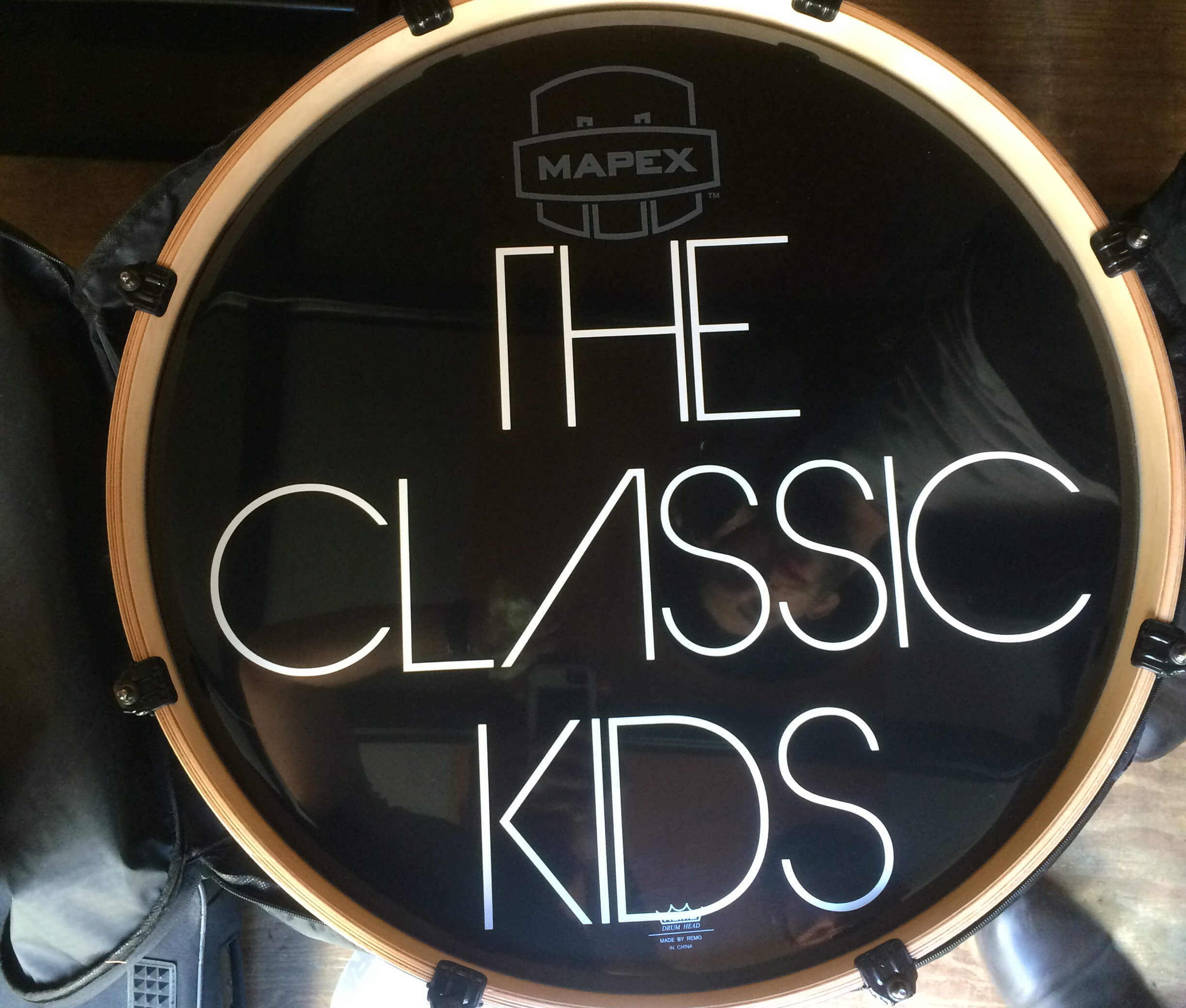 The Classic Kids, Bass drum decals, kick drum decals, drum stickers, sale, cheap price, die-cut, die cut vinyl decals, music bands, local band