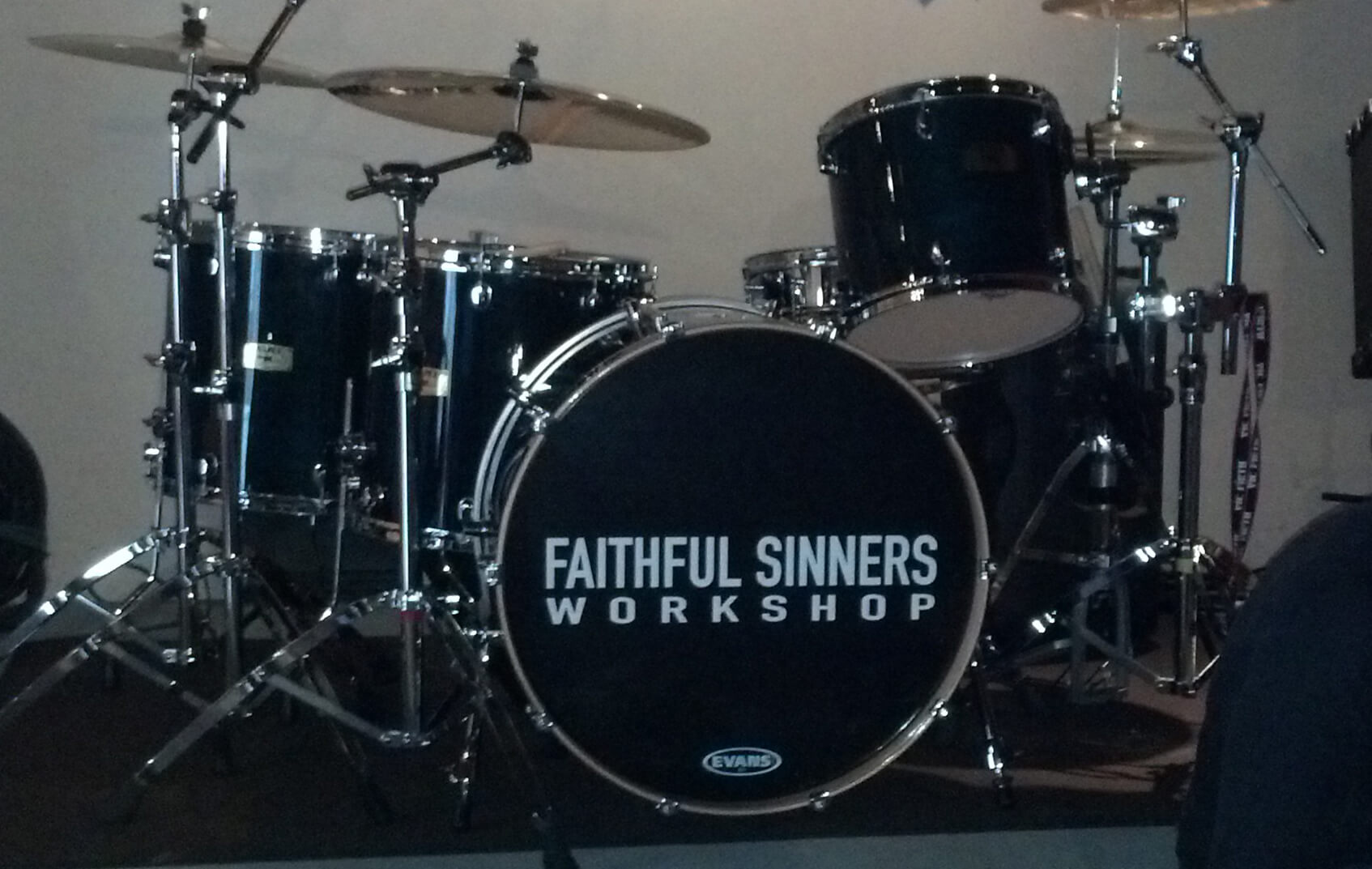 Faithful Sinners Workshop, drum decal, kick drum decals, drum stickers, custom, great prices, die-cut, die cut vinyl decals, music band, promotion