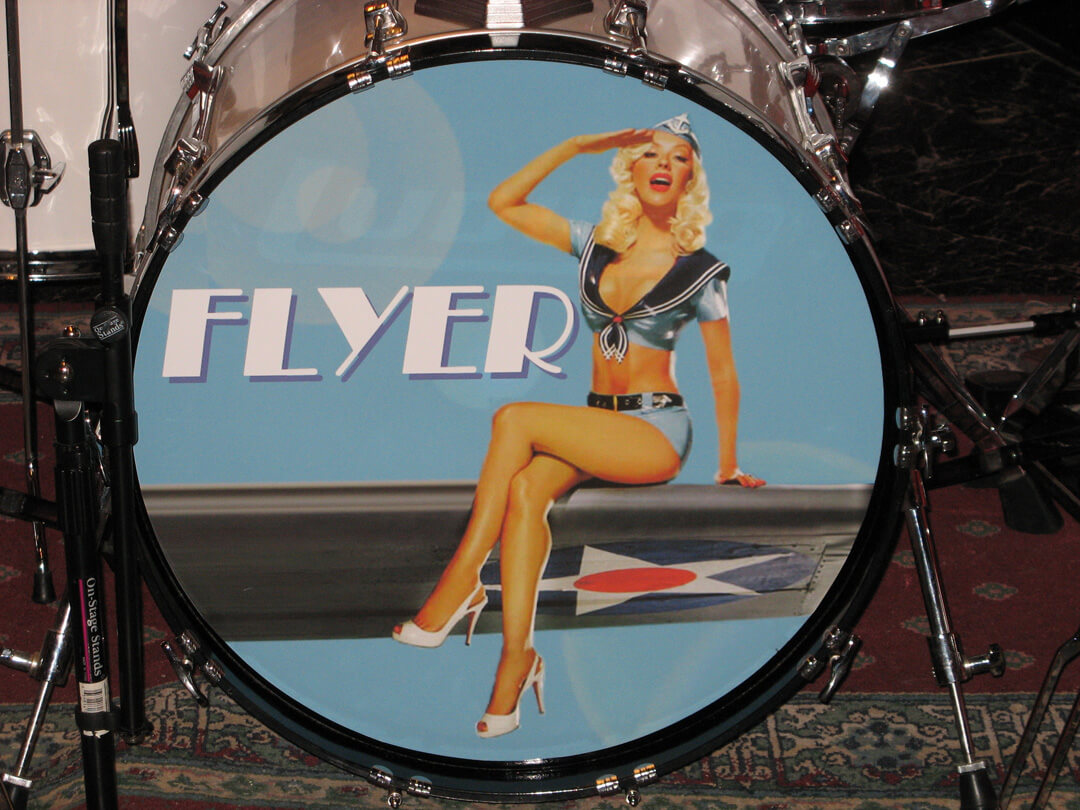 Flyer, removable drum decal, kick drum skin, full color drum decal, drum skin, sale, cheap price, die-cut, die cut vinyl decals, reusable static cling drum decal, music bands, local band