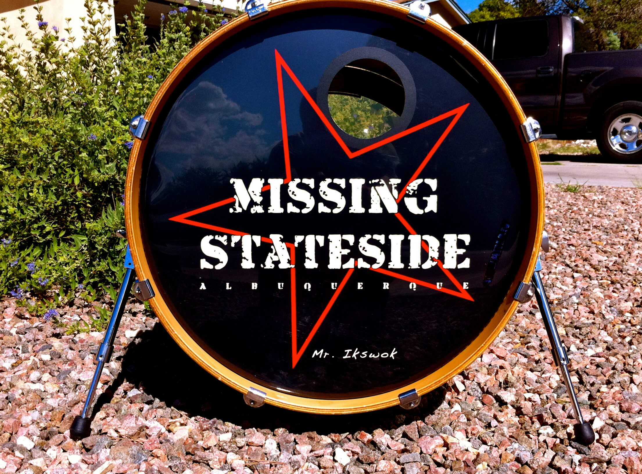 Missing Stateside, Bass drum decals, kick drum decals, drum stickers, sale, cheap price, die-cut, die cut vinyl decals, music bands, local band